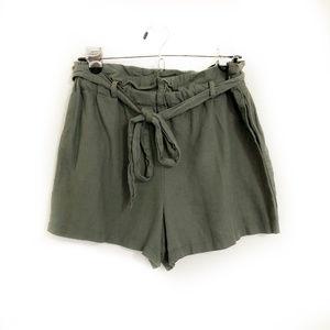 HAVE Olive Green Paperbag Shorts